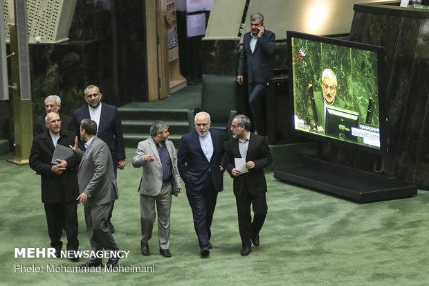 Iran FM Zarif in the Parliament
