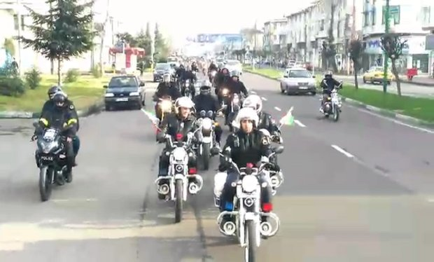 Bikers parade on 40th anniv. of Islamic Revolution