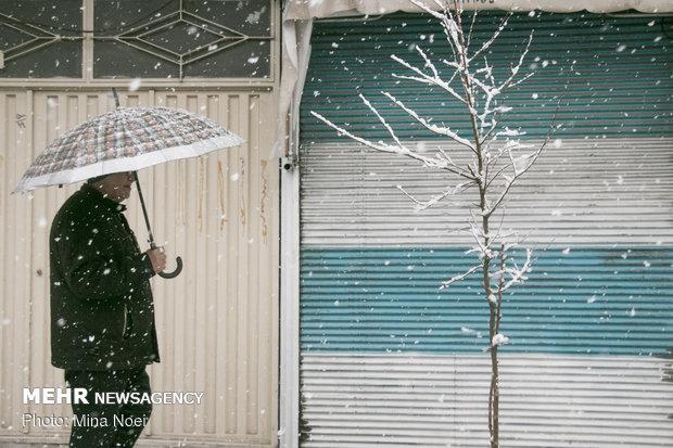 هطول الثلج بمدينة تبريز