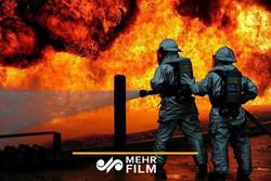 فیلمی از آتش سوزی محوطه سینما هلال زاهدان