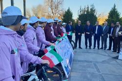 دوچرخه سواران پیام چهل سالگی انقلاب را تقدیم استاندار قزوین کردند