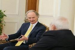 ظريف يجري جولة من المباحثات مع المبعوث الخاص للأمين العام للأمم المتحدة إلى سوريا