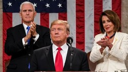 US President Donald Trump delivers the State of the Union address, alongside Vice President Mike Pence and Speaker of the House Nancy Pelosi, at the US Capitol in Washington, DC, on February 5, 2019. (Photo by AFP)