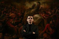 اجرای زنده نقاشی توسط حسن روح الامین در جشنواره «هنر مقاومت»
