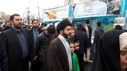 حضور فرزندان رهبر معظم انقلاب در جمع راهپیمایان تهرانی