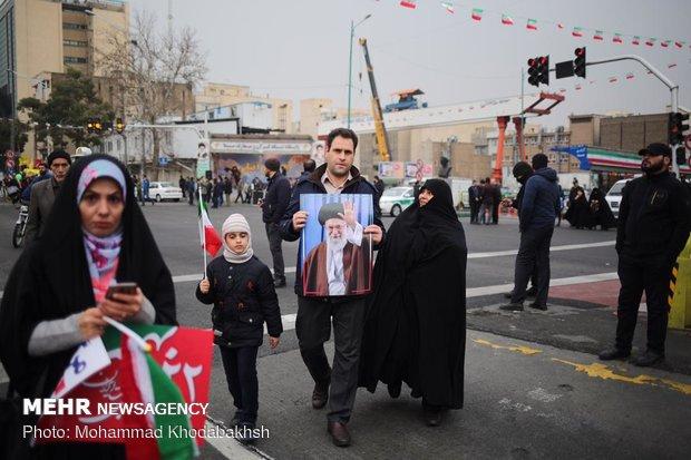 راهپیمایی ۲۲ بهمن در ۴۰ سالگی انقلالاحتفالات الجماهيري في طهران بالذكرى الأربعين للثورة الإسلامية اب