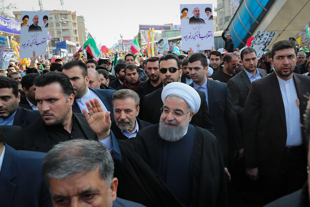 President Rouhani joins Islamic Revolution rallies