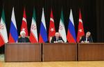 انطلاق القمة الثلاثية الخامسة بين رؤساء جمهورية إيران وروسيا وتركيا