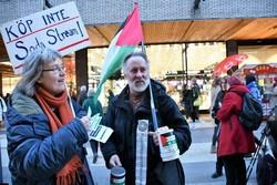 فعالان سوئدی خواستار تحریم کالاهای صهیونیستی شدند