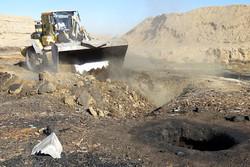 تخریب ۳۵ حلقه چاه ذغال در بیابانهای اطراف شهر قم