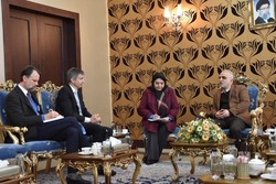 Swiss ambassador to Tehran Markus Leitner (2nd L) held talks with Iranian Finance and Economic Affairs Minister Farhad Dejpasand (1st R) in Tehran on Monday