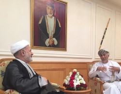 Oman's Research Council Chairman Sayyid Shihab bin Tariq al Said (r) and Iran's ambassador to Oman Mohammad Reza Nouri Shahroudi met in Muscat on Wednesday.