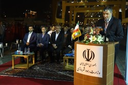 Transport Minister Mohammad Eslami speaking in a ceremony on inauguration of seven development projects at Chabahar Port on Monday