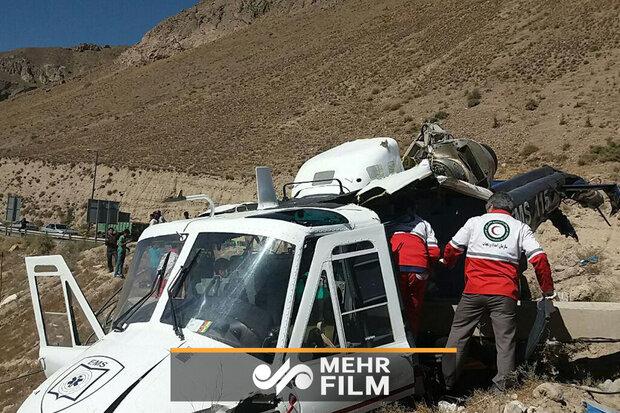 اولین فیلم از محل سقوط بالگرد اورژانس