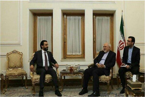 FM Zarif meets with Iraqi parl. speaker to discuss deepening bilateral ties