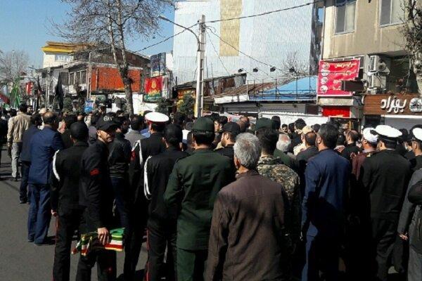 پیکر مطهر ۲ شهید گمنام دفاع مقدس در ملارد تشییع شد