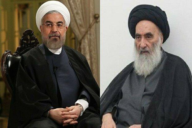 صدر روحانی کی نجف میں آیت اللہ سیستانی سے ملاقات