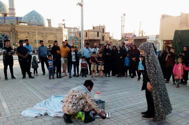 نمایش خیابانی «هفت سین» در یادمان شلمچه اجرا شد