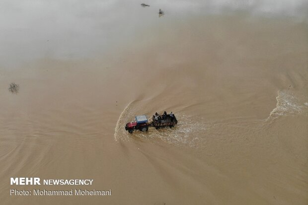 Aerial photos reveal aftermath of flood in N Iran