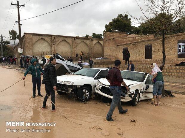 جاری شدن سیل در شیراز