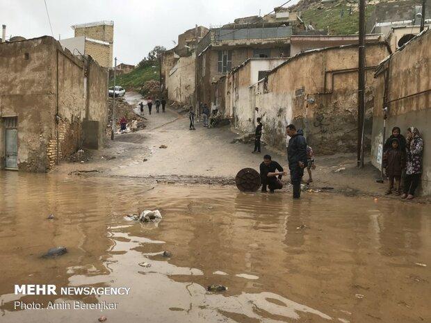 خسارات سیل در محله سعدیه شیراز