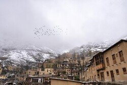 Snowfall in historic village of Masuleh during Nowruz