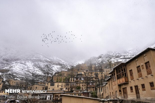 Snowfall in historic city of Masuleh during Nowruz