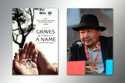 """This combination picture shows filmmaker Rithy Panh and a poster for his documentary """"Graves Without a Name""""."""