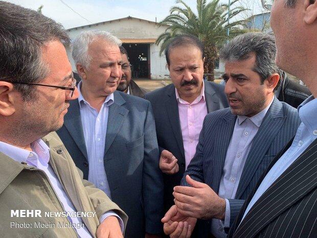 بازدید رضا رحمانی وزیر صنعت، معدن و تجارت از صنایع اسیب دیده گلستان