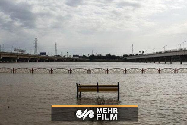 اہواز کی ساحلی سڑک زیر آب آگئی