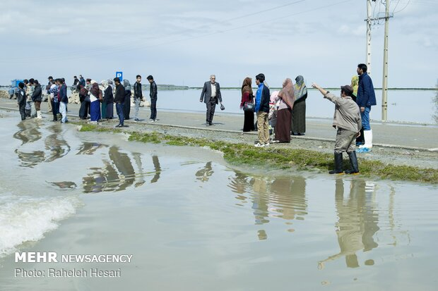 Gomishan, Aqqala surrounded by water