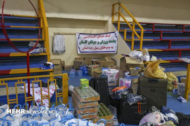 توزیع کمک های مردمی به مناطق سیل زده گمیشان