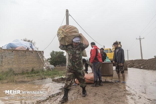 زیر آب رفتن کامل ۱۰ روستا در مسیر « بامدژ » اهواز