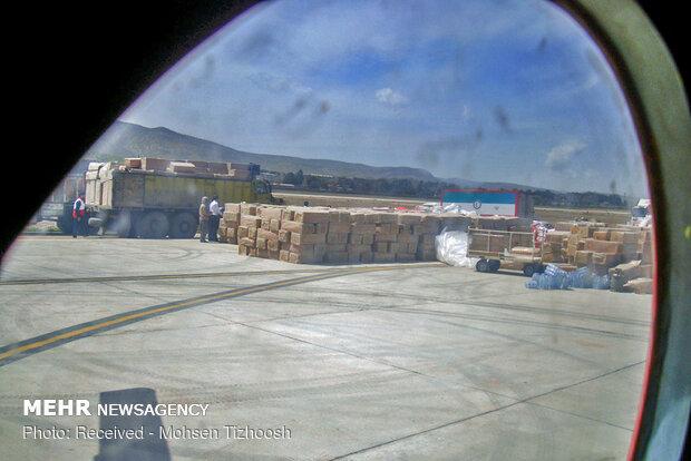 ارسال هوایی اقلام ضروری از خرم آباد به مناطق سیل زده