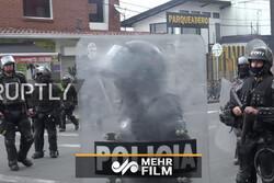 درگیری شدید میان دانشجویان و پلیس ضد شورش در کلمبیا