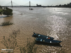 Karun River, in southwestern city of Ahvaz, is filled following recent rainfalls in the region