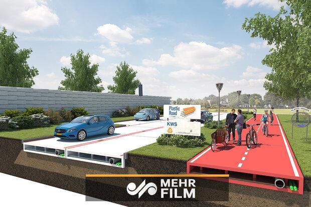 Hollanda'da atık plastiklerden asfalt yolu yapıldı