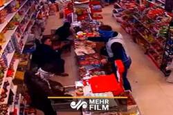 لحظه تیراندازی در سوپرمارکت پردیس کرمانشاه