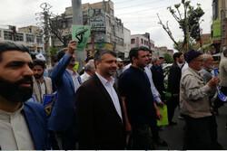 راهپیمایی حمایت از سپاه در قرچک برگزار شد