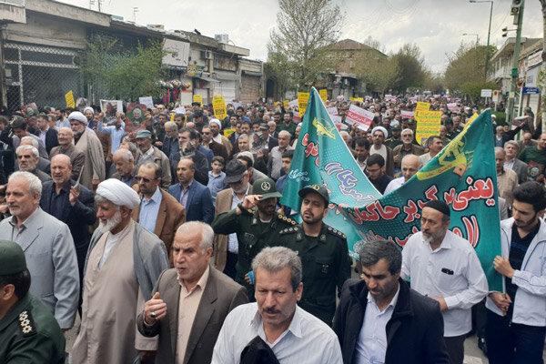 با شرکت در راهپیمایی: مردم قزوین همبستگی خود را با سپاه اعلام کردند