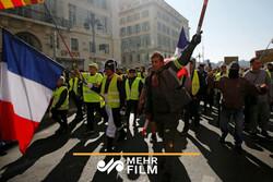 فرانس میں  پیلی جیکٹ والوں کے احتجاج کا 23 واں ہفتہ