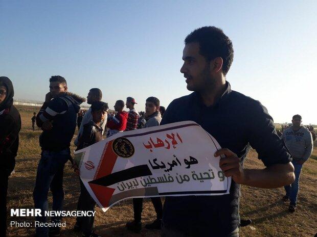 حمايت مردم غزه از سپاه پاسداران در راهپيمايي بازگشت