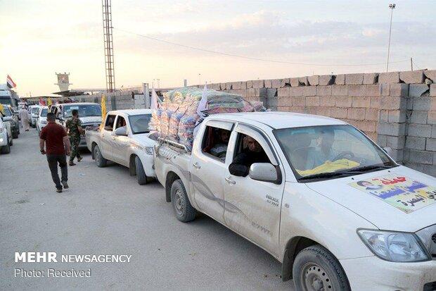 ورود کاروان کمک های گروه نجباء عراق به سیل زدگان  از  مرز مهران