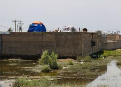 وضعیت سیل در روستای شاکریه - سوسنگرد