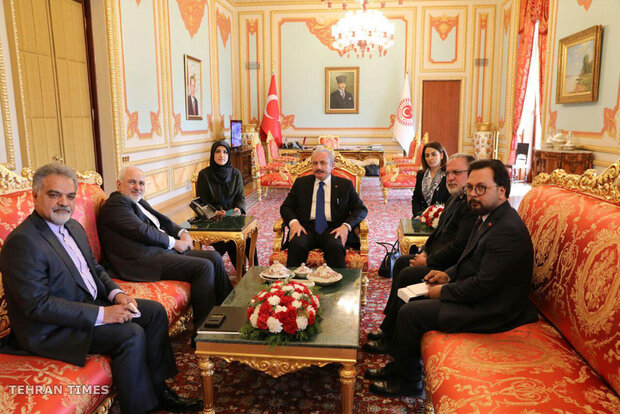 Zarif meets with Cavusoglu, Sentop in Ankara