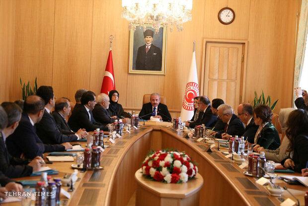 Zarif meets with Cavusoglu, Sentop in Ankara