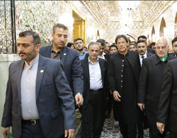 Pakistani PM visits holy shrine of 8th Shia Imam in Mashhad