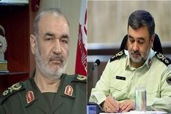 پیام تبریک فرمانده ناجا به فرمانده کل سپاه پاسداران