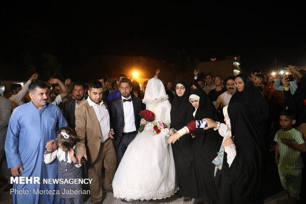 Marriage ceremony of flood-stricken couple in Khuzestan prov.
