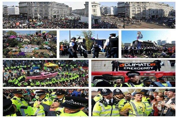 بازداشت معترضان به تغییرات اقلیمی در لندن از ۱۰۰۰ نفر فراتر رفت